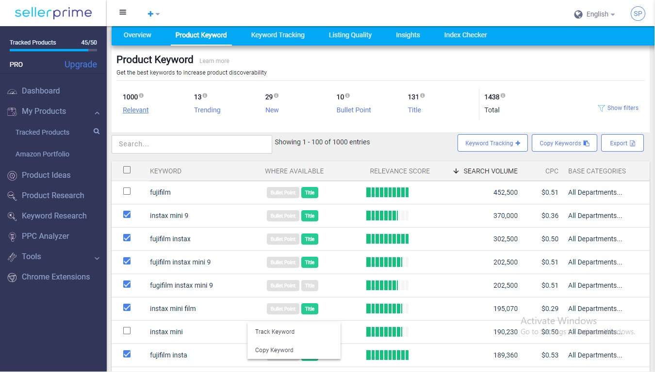sellerapp product keyword